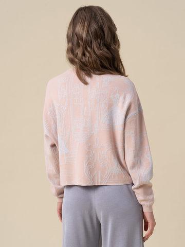Женский джемпер светло-розового цвета с принтом из вискозы - фото 2