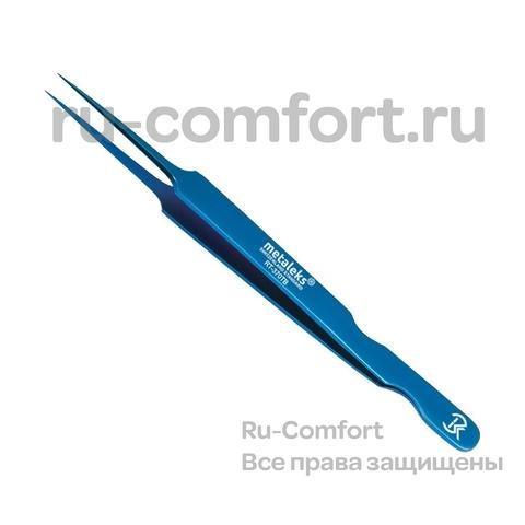 Пинцет для наращивания ресниц, титан/синий, 12см, RT-370TB