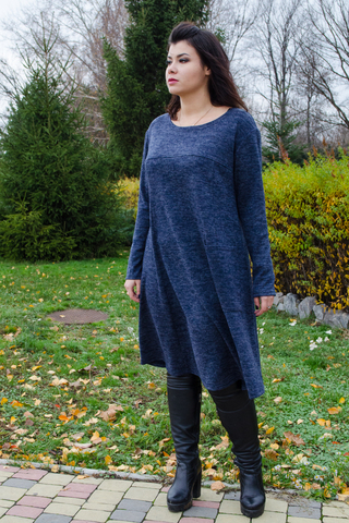 Альбіна. Сукня на кожен день великих розмірів. Синій.