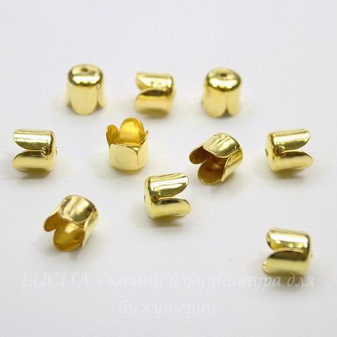 Концевик в виде цветка для шнура 6 мм (цвет - золото) 8х7 мм, 10 штук