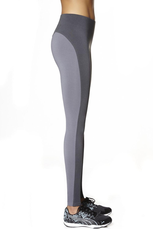 Спортивные легинсы серые с широким поясом