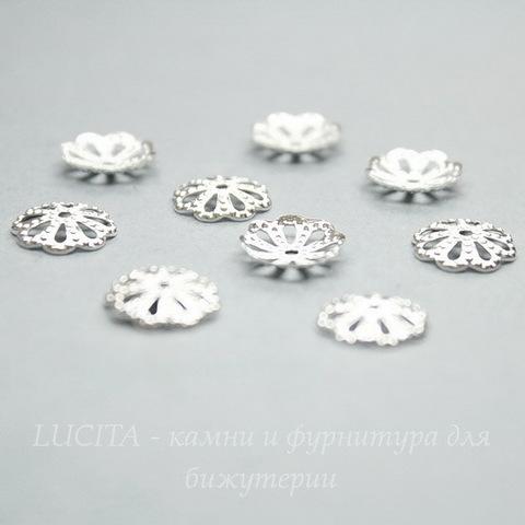 Шапочка для бусины филигранная 9х2 мм (цвет - серебро), 10 штук