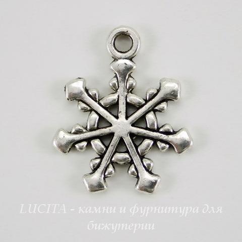 "Подвеска ""Снежинка"" (цвет - античное серебро) 20х16 мм"