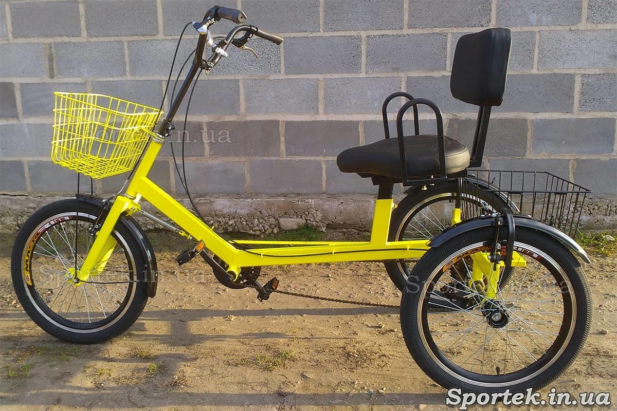 Трехколесный велосипед для людей весом 110-190 кг 'Атлет с корзинкой' для больных ДЦП