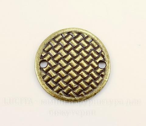 """Коннектор TierraCast """"Плетеный диск"""" (1-1) 19 мм (цвет-античная латунь)"""