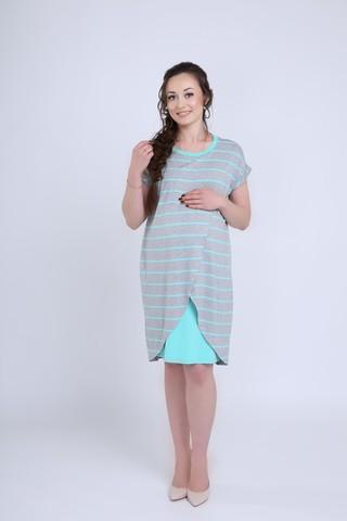 Платье 08721 серый меланж/ментол
