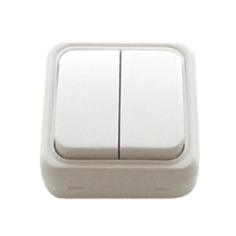 Выключатель двухклавишный открытой установки, схема 5. Цвет Белый. LK Studio STANDARD (ЛК Студио СТАНДАРТ). 811104