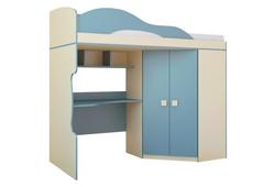 Кровать 2 этаж + шкаф Радуга