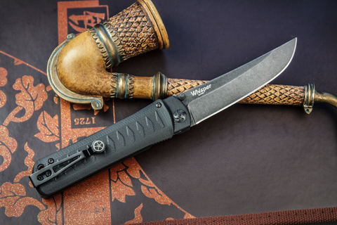 Складной нож Whisper D2 StoneWash Black