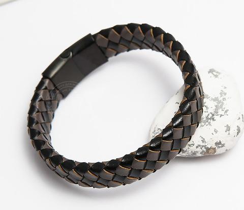 Мужской плетеный браслет из натуральной кожи (20 см)