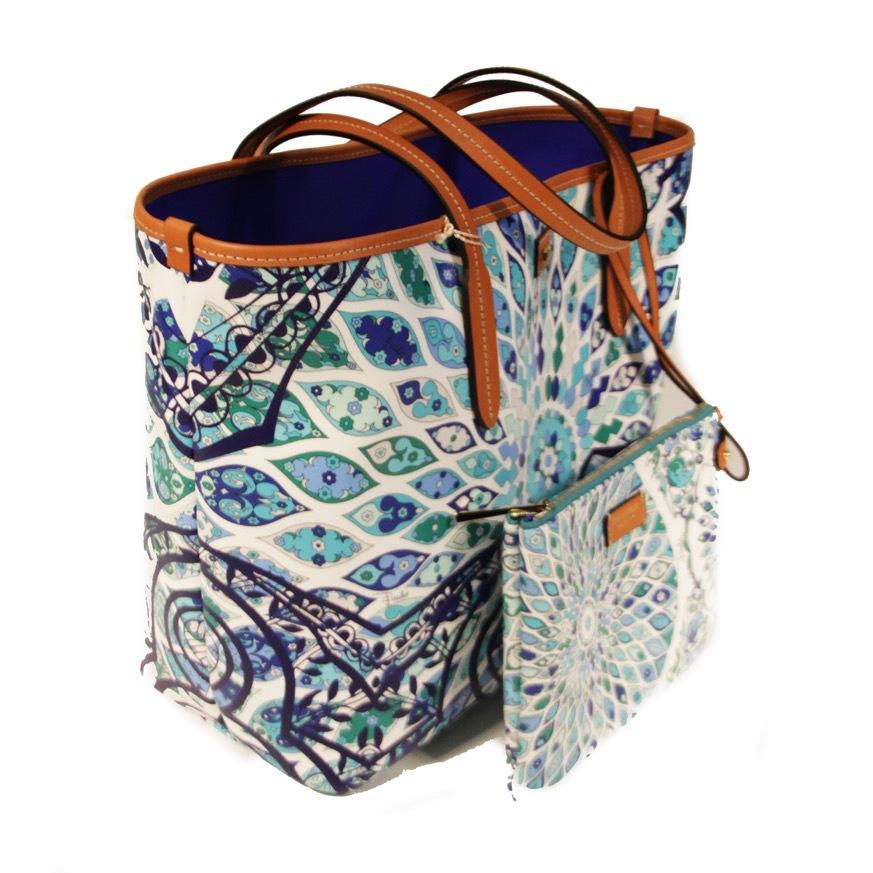 Сумка-шоппер mini . Цвет синий/коралл EMILIO PUCCI