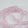 Бусина стеклянная, биконус, цвет - розовый, 4 мм, нить