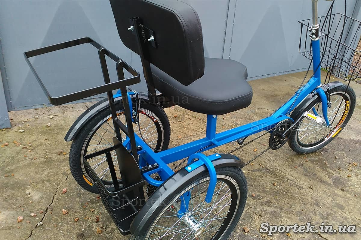 Трехколесный велосипед для людей весом 110-190 кг 'Атлет с корзинкой' (синий - вид сзади)