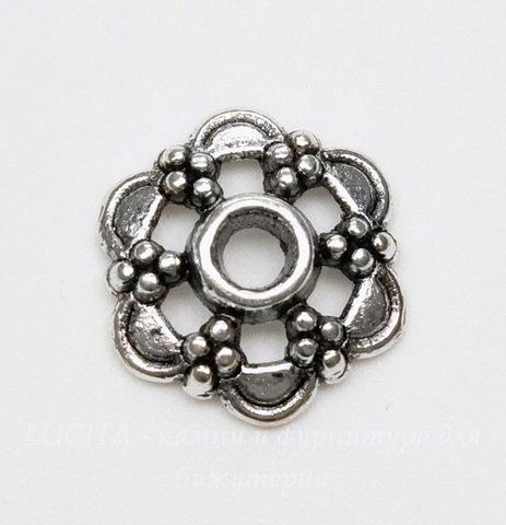 Шапочка для бусины (цвет - античное серебро) 13х3 мм, 10 штук