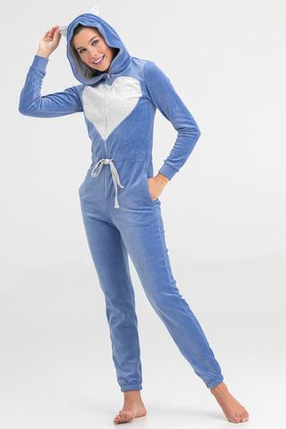 Пижама-комбинезон женская велюровая голубая