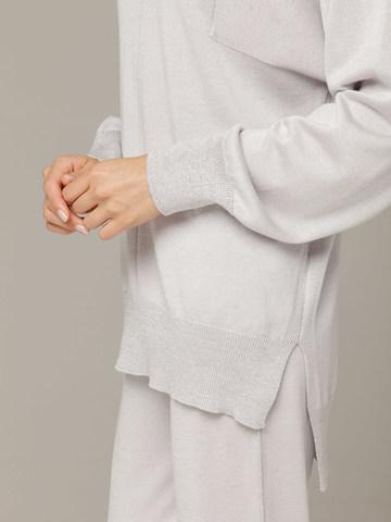Светло-серый джемпер из шёлка и кашемира, с квадратной линией проймы - фото 4