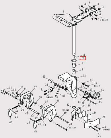 Кольцо вала для лодочного мотора F9.8 Sea-PRO (13-9)