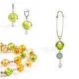 Серьги, ожерелье, брошь (комплект украшений Bella золотисто-салатовый)