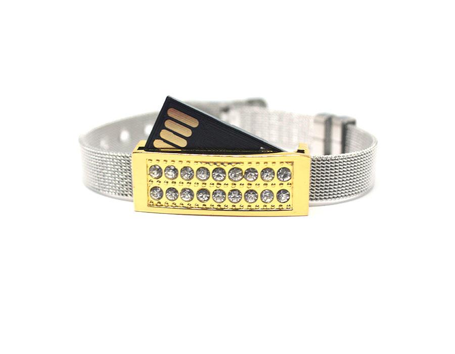 usb-флешка металлический браслет золото с белыми стразами