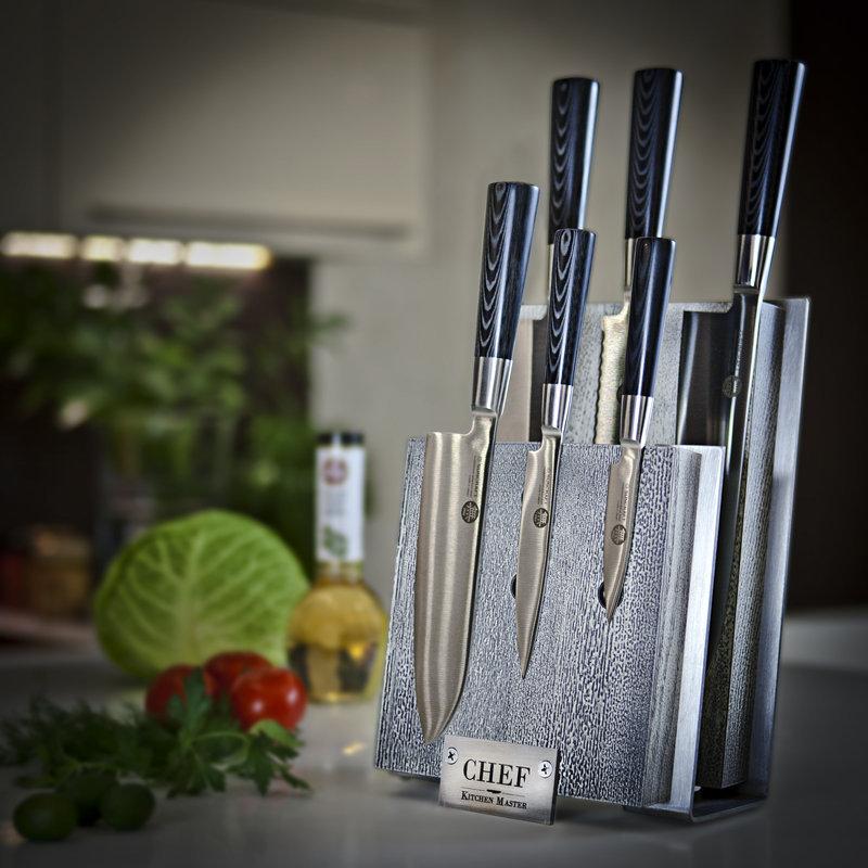 Подставка для ножей с магнитными держателями, ясень и сталь, Chef, CH-001/BLW
