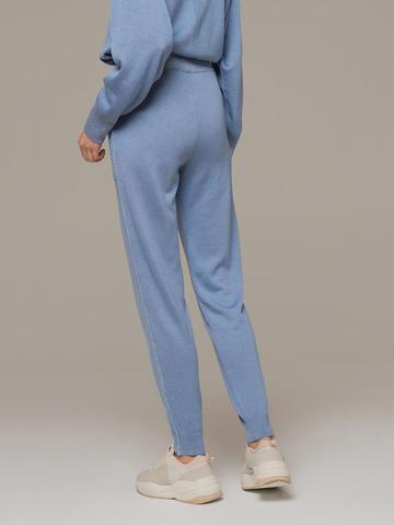 Голубые брюки из шёлка и кашемира спортивного силуэта - фото 4