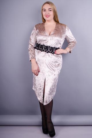 Рубін. Святкова сукня великих розмірів. Золотистий.