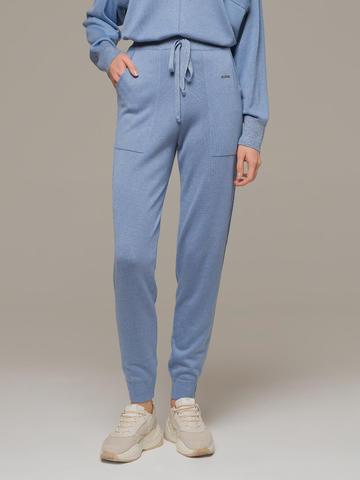Голубые брюки из шёлка и кашемира спортивного силуэта - фото 2