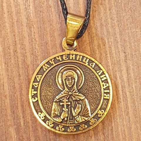 святая Лидия именная нательная икона из бронзы кулон с молитвой
