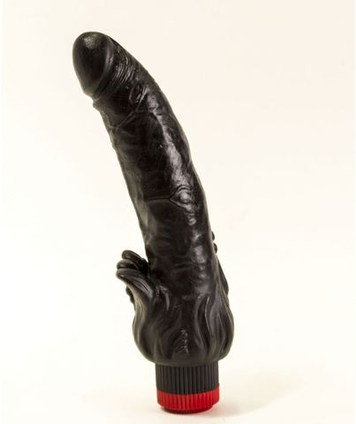 Чёрный вибратор с клиторальными лепестками - 18,5 см.