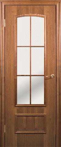 Дверь Краснодеревщик ДО 208, цвет тёмный орех, остекленная