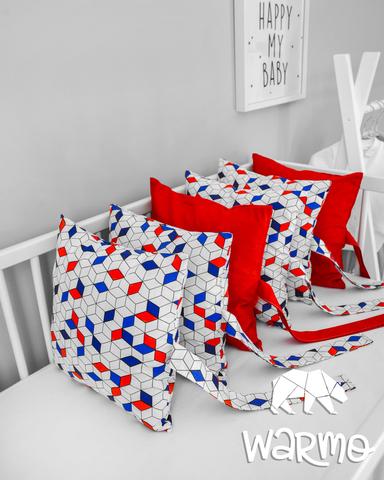 Набір бортиків-подушок в ліжечко 30x30см РОМБИКИ