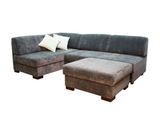 Большой угловой диван без подлокотников, механизм Дельфин + пуф