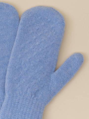 Женские варежки голубого цвета из 100% кашемира - фото 2