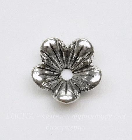 """Шапочка для бусины """"Перевернутый цветочек"""" (цвет - античное серебро) 9х3 мм, 10 штук"""