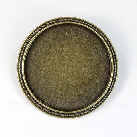 Основа для броши с сеттингом для кабошона 30 мм (цвет - античная бронза) 35 мм