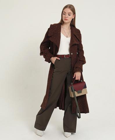 Коричневое пальто с бантовыми складками