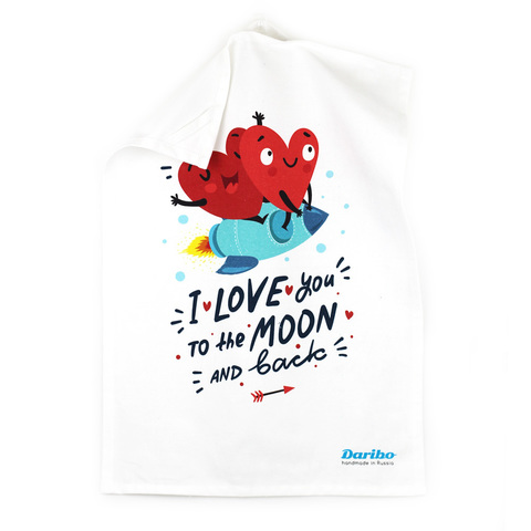 Полотенце кухонное Daribo I love you to the moon and back, 50x70 см DA71041