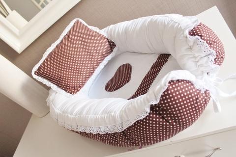 Babynest Комплект кокон + подушечка декоративная Горошинка