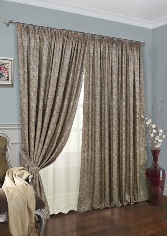 Комплект штор жаккард Франсика с тюлем и подхватами коричневый