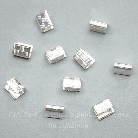 Концевик для лент 7 мм (цвет - серебро), 10 штук