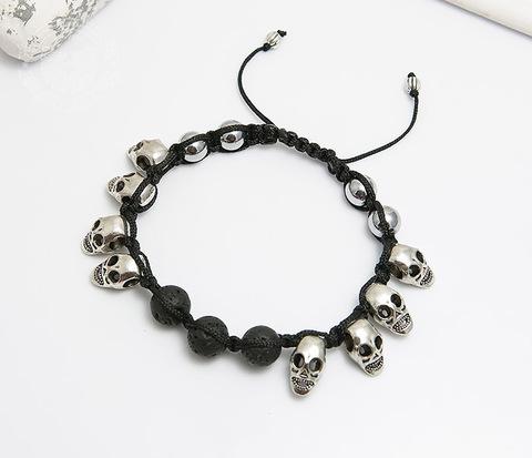 Мужской браслет шамбала из вулканической лавы и черепов. «Boroda Design»
