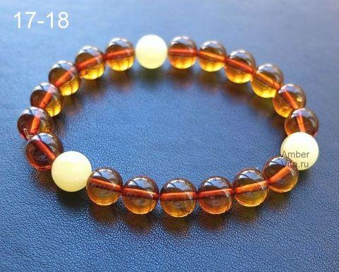 браслет шары из прозрачного и матового янтаря