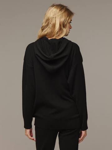 Женский черный джемпер с капюшоном из шерсти и кашемира - фото 3