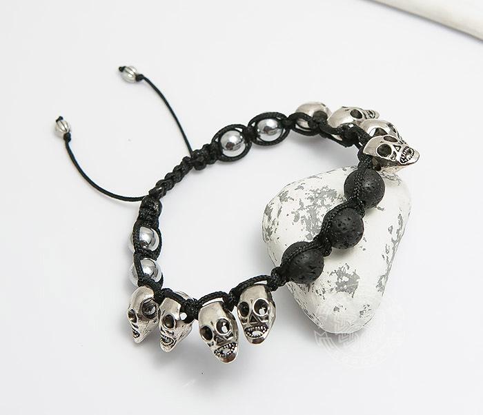 BS552 Мужской браслет шамбала из вулканической лавы и черепов. «Boroda Design» фото 03