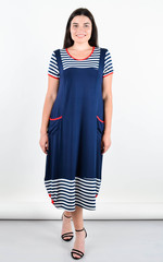 Ярина. Практичное платье большого размера. Синий.