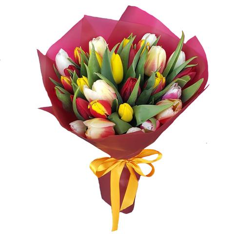 Букет из 29 микс тюльпанов 2