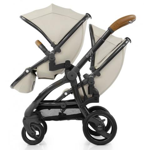 Egg Прогулочный блок для второго ребенка Tandem Seat Jurassic Cream & Gun Metal Chassis