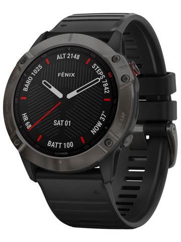 Купить Мультиспортивные часы Garmin Fenix 6X  Sapphire - серый DLC  с черным ремешком 010-02157-11 по доступной цене