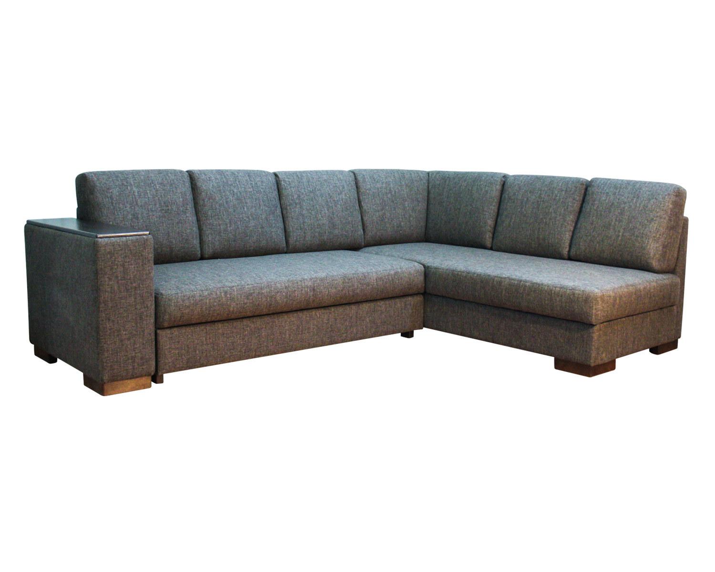 Большой угловой диван с одним широким подлокотником, механизм Дельфин