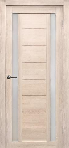 Дверь Эколайт Дорс Тандем, стекло белое матовое, цвет лиственница кремовая, остекленная